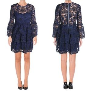 AQUA Blue Floral Lace Tiered Bell Sleeve Dress
